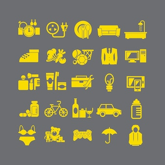 Plano elegante del icono de la tienda por departamentos