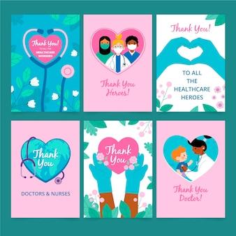 Plano gracias colección de postales de médicos y enfermeras.
