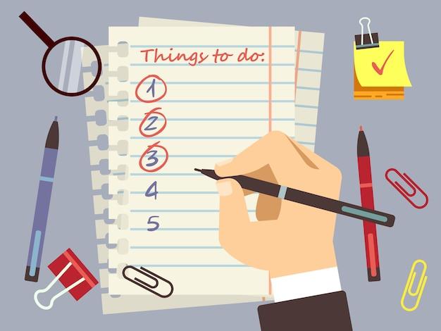 Plano para hacer lista de página y papelería.