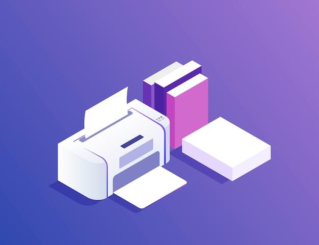 Plano . impresora con papel y libros. ilustración moderna
