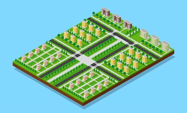 Plano isométrico de la ciudad de dormitorios con carreteras, senderos, árboles y edificios habitables. imagen plana en 3d del área de dormitorio.