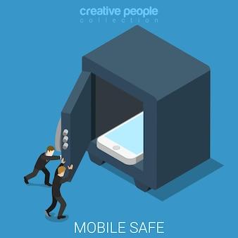 Plano isométrico seguro de datos móviles