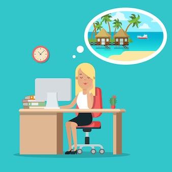 Plano joven empresaria sentada en la mesa y soñando con vacaciones en maldivas
