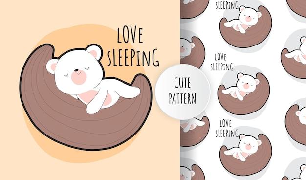 Plano lindo bebé oso blanco en el conjunto de patrones de luna