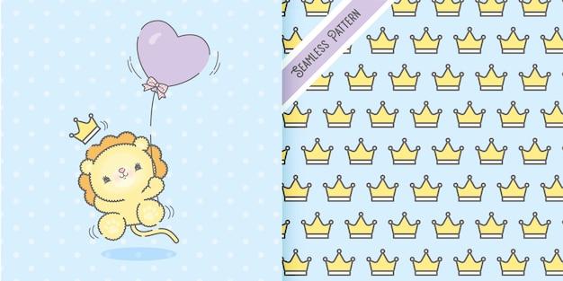 Plano lindo feliz león bebé animal volando con globo y conjunto de patrones de coronas