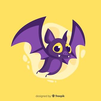 Plano lindo murciélago de halloween sobre fondo amarillo