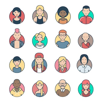 Plano lineal gente personajes perfil avatar casual e hipster elegante macho hembra caras icono