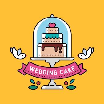 Plano lineal de un pastel de bodas con decoraciones y palomas