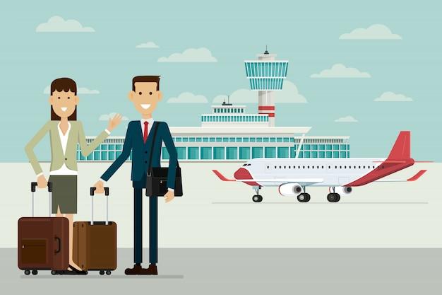 Plano en las llegadas del aeropuerto y hombres y mujeres de negocios con maletas, ilustración vectorial