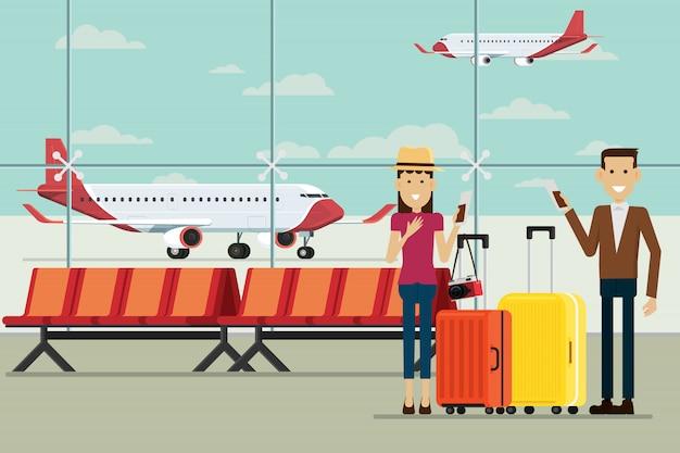Plano en llegadas del aeropuerto y personas hombre y mujeres con maletas, ilustración vectorial