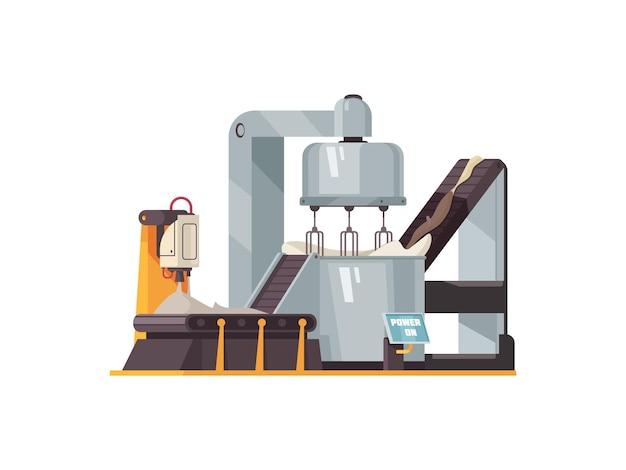 Plano de máquina automatizada para producción alimentaria