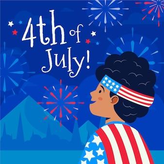 Plano orgánico 4 de julio ilustración del día de la independencia