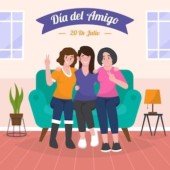 Plano organico dia del amigo 20 de julio ilustracion