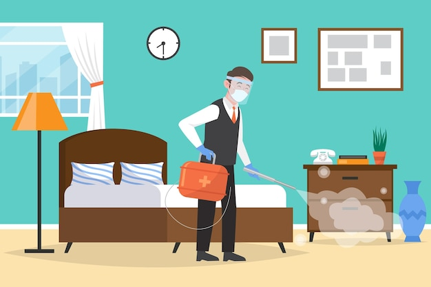 Plano orgánico nuevo normal en hoteles ilustración.