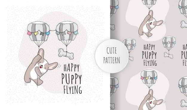 Plano de patrones sin fisuras lindo animal cachorro volando