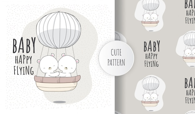 Plano de patrones sin fisuras lindo bebé oso volando