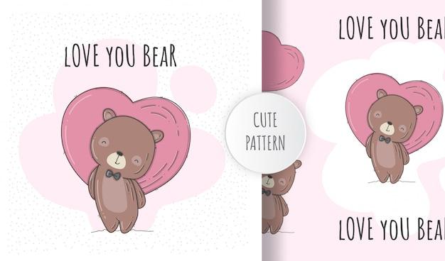 Plano de patrones sin fisuras lindo oso enamorado