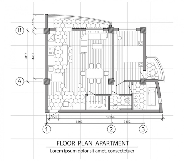 Plano de planta de un apartamento moderno