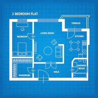 Plano de planta de apartamento con vista superior de muebles