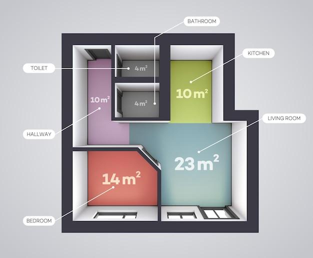 Plano de planta de color arquitectónico.