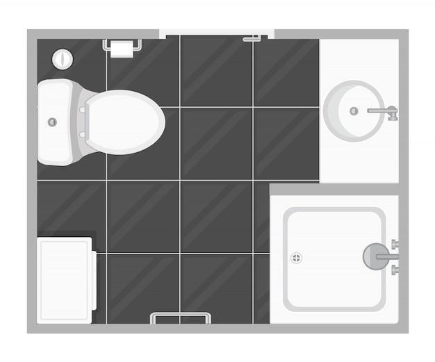 Plano de planta de la ilustración de la sala de baño