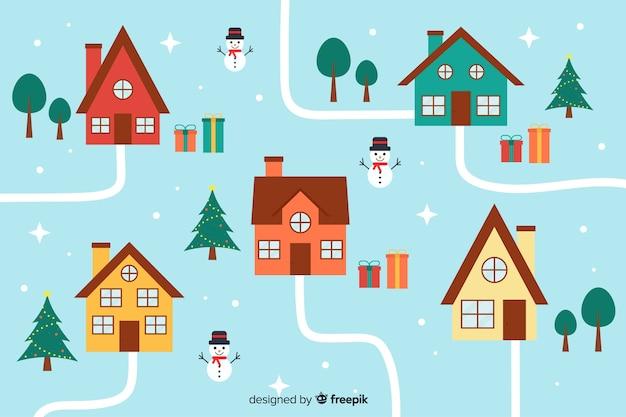 Plano pueblo de navidad alta vista con casas