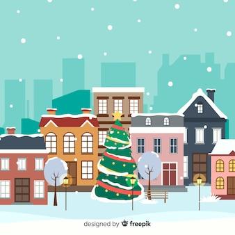 Plano pueblo de navidad con árbol de navidad
