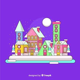Plano pueblo de navidad en una noche de luna llena