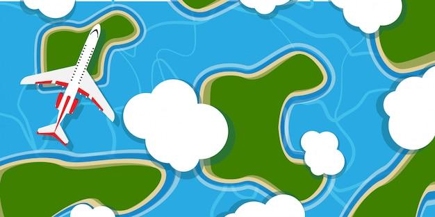 Plano sobre fondo de ilustración de nube de cielo. vista superior de jet de vuelo de dibujos animados de viaje. vacaciones de aventura al aire libre