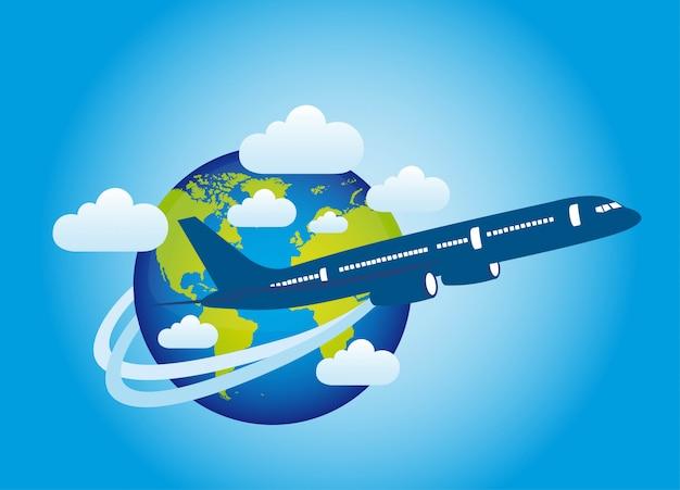 Plano sobre el planeta con nubes sobre fondo azul vector