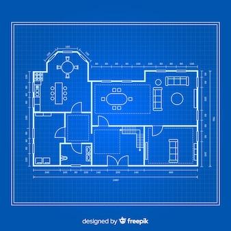 Plano de una vista superior de la casa