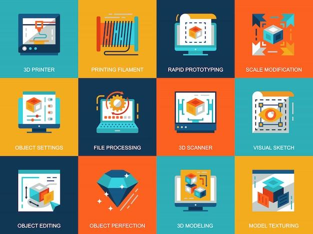 Planos conceptos de impresión y modelado 3d conceptuales iconos conjunto