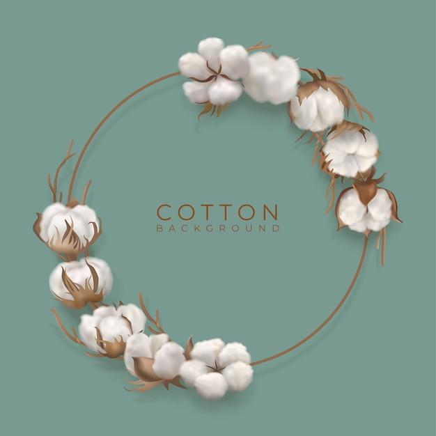 Planta de algodón en marco circular y lugar para texto