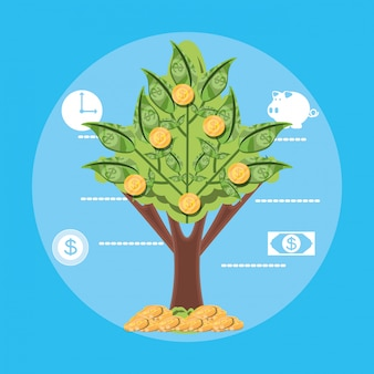Planta de árbol de billetes icono aislado dólar