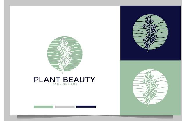 Planta de belleza femenina y elegante diseño de logotipos.