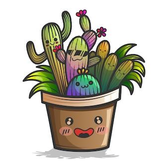 Planta de cactus lindo con cara feliz ilustración.