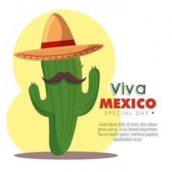 Planta de cactus con sombrero y bigote para el día de los muertos