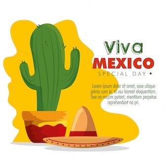 Planta de cactus con sombrero para el día de los muertos