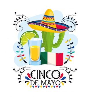 Planta de cactus con sombrero para evento mexicano.
