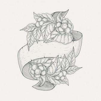Planta de café banner dibujo a mano ilustración