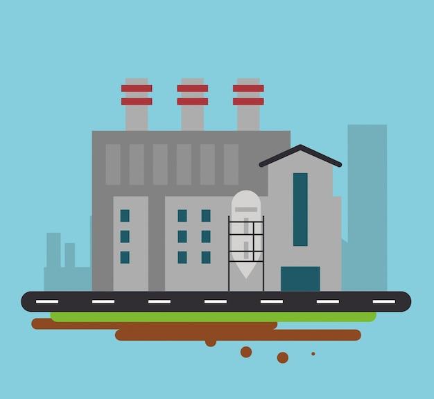 Planta calle edificio icono de fábrica de fábrica de chimenea