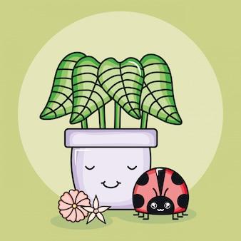 Planta de la casa en maceta de cerámica con mariquita estilo kawaii