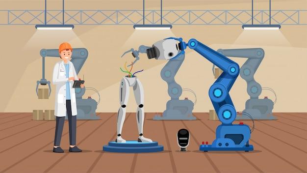 Planta de construcción de robot plana