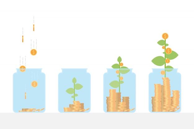 Planta de cultivo de dinero en el tarro de ahorros