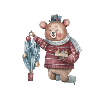 Planta de decoración de oso con dibujo de acuarela de bolas de navidad