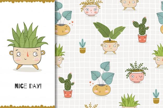 Planta divertida de dibujos animados en maceta. plantilla de tarjeta y patrones sin fisuras. desig dibujado a mano