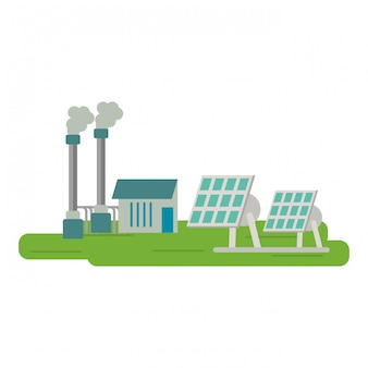 Planta electrica de paneles solares.