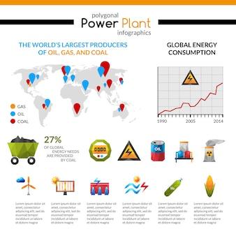 Planta de energía y extracción de minerales infografía