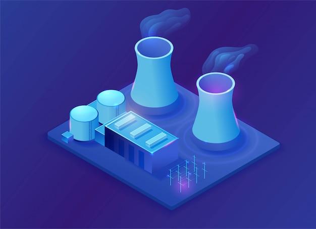 Planta de energía nuclear isométrica ilustración 3d