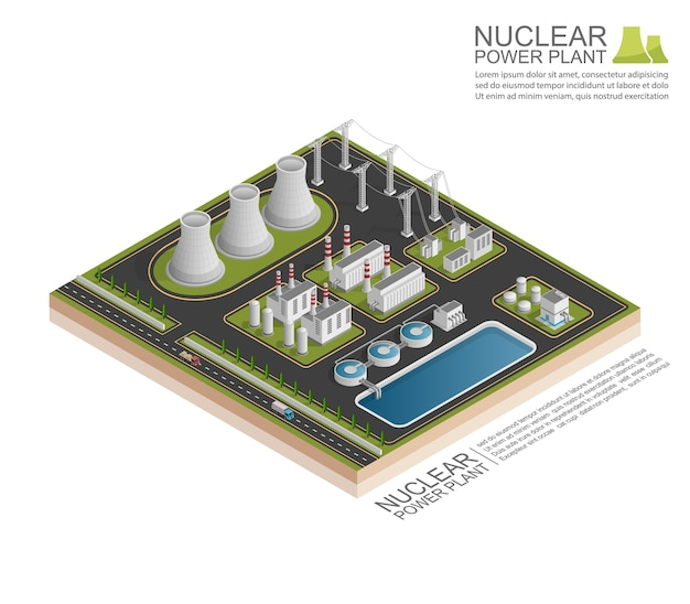 Planta de energía nuclear isométrica